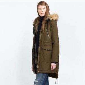 Zara outerwear collection fur lined green jacket M